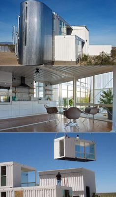 Home built with 6 shipping containers! Cargo Container Homes, Container Buildings, Container Architecture, Container House Design, Shipping Container House Plans, Shipping Containers, Luxury Modern Homes, Casas Containers, Home Design Diy
