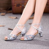 New Glitter Ballroom Party Latin Dance Shoes Sandals for Women Ladies Performance Indoor Tango Salsa Dancing Heels Shoes