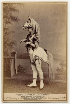 """Love the use of the bustle apparatus to create the tail and back end visual of the horse. Vintage """"cosplay""""."""