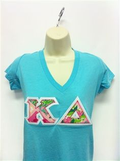 Ready To Wear Instant Ship Item #140IS - Kappa Delta - $23.95    Extra Large Aqua Kappa Delta Next Level Smooth Deep V shirt with Lilly Pink and Green Tile Patch fabric