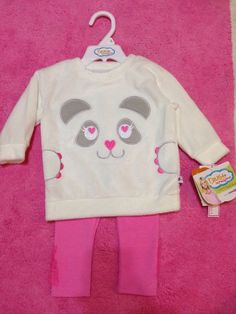 NWT Infant Toddler Truly Scrumptious Panda Sweater Pink Legging Outfit 12 Months #TrulyScrumptious #DressyEveryday