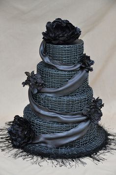 Black Wedding Cake with red roses and red lace