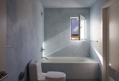 Shower-grade stucco for an interior wall finish, integral color… Stucco Finishes, Wall Finishes, Bath Design, Interior Walls, Apartment Living, Home Renovation, Game Room, Diy Home Decor, House Design