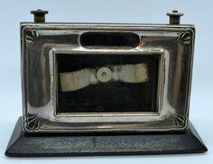 Antique Art Deco Manco Silver Electro Plated Ebonized Perpetual Calender Desktop