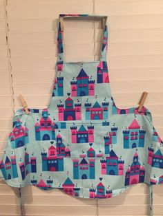 Castle Toddler Apron / Castle Child Apron / Blue  and Pink castles Apron