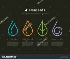 Nature Elements. Water, Fire, Earth, Air. Infographic Elements On Dark…