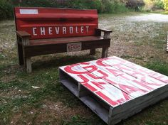 Sentimental Redo: The Flip Contest! Chevy tailgate bench and a table made from pallets.