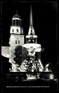 Salzburg Österreich alte s/w AK 1959 Residenzbrunnen und Glockenspiel bei Nacht   eBay Zell Am See, Salzburg Austria, Burj Khalifa, Empire State Building, Alter, Ebay, Fountain, Night