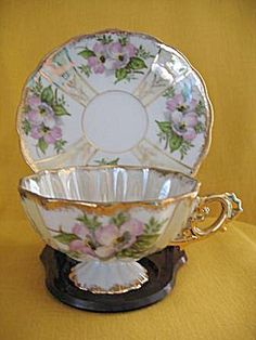 Japan Dogwood Lustreware Cup and Saucer