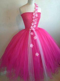 Fuschia tutu dress with flowers and pearls. Sold on Facebook Tutu Fairytale