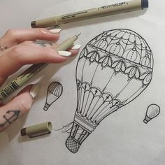 Pretty little hot air balloon I designed for a tattoo on a lovely lady ❤️ - Balloon Tattoo - Doodle Drawings, Easy Drawings, Tattoo Drawings, I Tattoo, Arm Tattoos, Life Tattoos, Small Tattoos, Ladies Tattoos, Air Balloon Tattoo