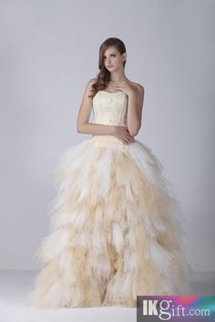 Strapless Satin and Tulle Floor-Length Beach Wedding Dress
