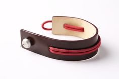 Little things that count - Balenciaga Marron Rouge leather cuff bracelet from Cl... - Jewelry Sale