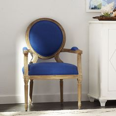 Louis XVI End Chair - Royal Blue