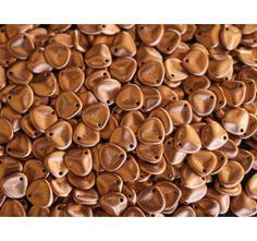 50pcs Rose Petal 7x8mm Pressed Czech Glass Beads Silky Metallic Bronze