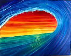 Excited to share this item from my etsy shop Rainbow wave art painting kimberlyleahey oceanart surfart surfer rainbowart # Beach Canvas Paintings, Oil Pastel Paintings, Oil Pastel Art, Easy Canvas Painting, Simple Acrylic Paintings, Cool Paintings, Sun Painting, Rainbow Painting, Spring Painting