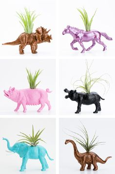 Repurposed toy- animal planters. These would be so cute in kids room or play area!