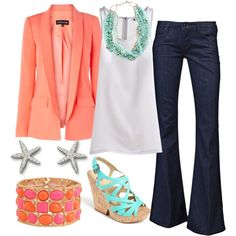 Coral and teal. Love the colors!