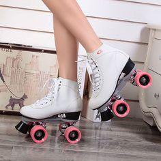 RENIAEVER Roller Skates Double Line Skates White Women Female Models Adult F1 Racing 4 Wheels Two line Roller Skating Shoes