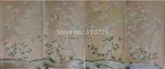 128.50$  Watch here - http://aliezh.worldwells.pw/go.php?t=1304687289 - Hand-painted silk wallpaper painting Magnolia with Flower/birds hand painted wall paper TV/sofa/bedroom/living room wallcovering