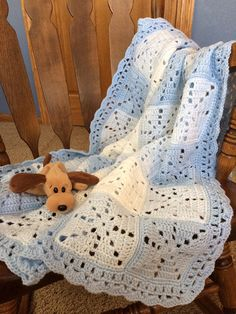 Crocheted Baby Blanket, Baby Afghan, Baby Shower Gift, Blue and White, Boy, New
