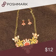 Necklace & earring set Gold chain with peach and yellow accents.  Matching earrings.  Perfect statement necklace for the summer. Jewelry Necklaces