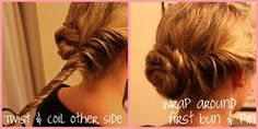 1. Section hair in 2. 2. Left side - make a bun. 3. Twist other side around the bun!