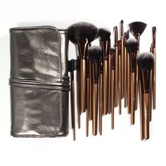 22.99$  Buy here - http://alil11.shopchina.info/go.php?t=1579442967 - 21 Pieces Professional Makeup Brush Sets Black Golden Synthetic Hair Ultra-fine with Silver gray Leather Bag 22.99$ #magazineonlinewebsite
