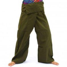 Pantalones de pescador Thai - verde oliva - algodón