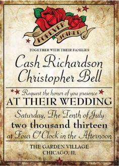 Rockabilly Wedding Invitations www.weddingbydesigns.com