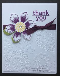 Beautiful Bunch stamp set and Lovely Lace embossing folder. If you don't own a Big Shot yet, check out Stampin' Up!s amazing promotion this month (August 2014): http://www.nutzaboutstamping.com/my_weblog/2014/08/big-shot-promotion.html
