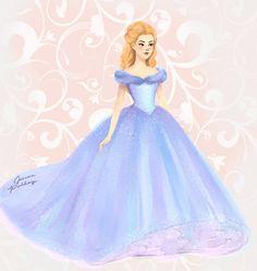 Cinderella by Jenna Paddey / jennapaddey Disney Princess Drawings, Disney Princess Art, Disney Fan Art, Disney Style, Disney Love, Disney Magic, Walt Disney, Disney Princesses, Cinderella Drawing