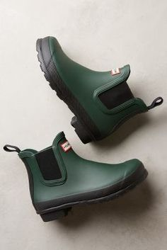 Hunter Original Two Tone Chelsea Boots Green Boots #anthrofave #anthropologie