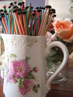 Knitting needles in a pitcher-pretty storage