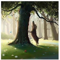 Digital artist Stephen Hanson art prints for sale, buy Stephen Hanson Toby the dog art online full UK delivery at Arthouse Gallery Art And Illustration, Illustrations, Square Art, Wow Art, Dog Paintings, Beautiful Drawings, Whimsical Art, Art Drawings, Street Art