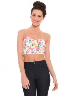 Floral, strapless, bustier-style crop top featuring seam detailing throughout for a sexy, curve-hugging fit