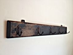 Antique Coat Rack Vintage Wall Hanger Wood And Metal Hooks Rustic Home Solid WoodHangerFarmhouse ChicVintage