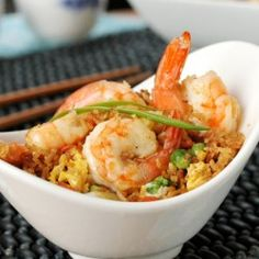 Shrimp and Fried Rice - a quick, easy and delicious one-skillet meal or side dish. (one skillet meals) Seafood Dishes, Fish And Seafood, Shrimp And Vegetables, Shrimp Fried Rice, One Skillet Meals, Shrimp Recipes, Rice Recipes, Delicious Recipes, Yummy Food