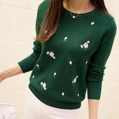 Embroidery Floral Knitted Sweater  #Hot #New #Trend #Buy #Sale #Discount