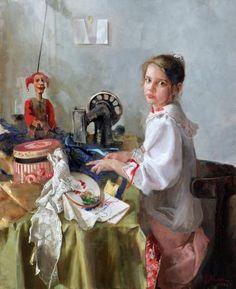 Юная вышивальщица