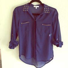 //Blue studded blouse// Sheer blue blouse Tops Blouses