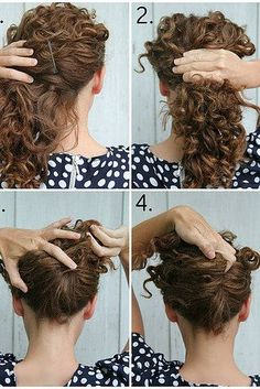 Use a comb to create an easy French twist topped with a sprig of curls. | 19 Curly Hairstyles You Can Do In Minutes