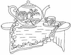Tea Time Redwork