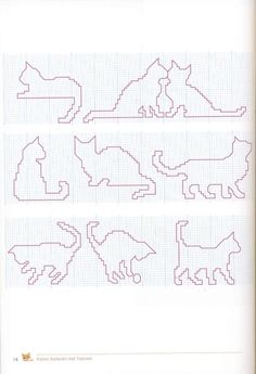 cats cross stitch - outlines