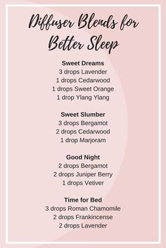 essential oil diffuser blends for better sleep