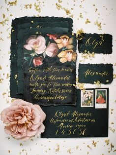 Black Wedding Invitation Suite || Black Calligraphy Wedding Stationery Suite