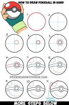 How to Draw Pokeball in Ash's Hand Step by Step Pokemon Drawing Tutorial