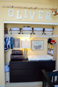 Closet Turned Changing Station - love this nursery organization!