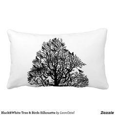 Decor Pillows, Decorative Pillows, Lumbar Throw Pillow, Throw Pillows, Black And White Tree, Bird Silhouette, Bird Tree, Repeating Patterns, Tapestry