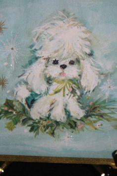 Vtg Hallmark Card-Pretty White Poodle, Gold Gilding,Mica Glitter- 1956 SO CUTE!